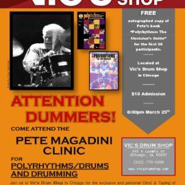 Chicago drum clinic – Vic's Drum Shop 03/25/2018